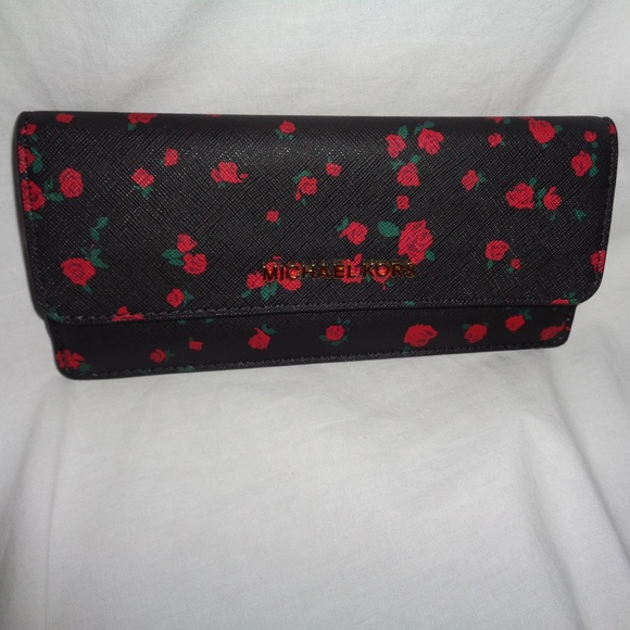 fee334a2fe2b Michael Kors Bags | Jet Set Travel Flat Wallet Black Red | Poshmark